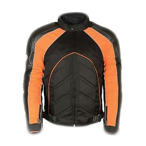 (Shaf Men's Motorcycle Perforated Leather & MESH Racer Jacket W/Armour Protection RED (M Orange))