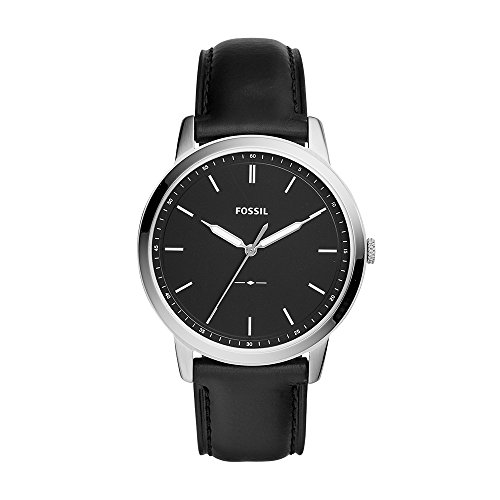 Fossil Men's The The Minimalist Stainless Steel Quartz Watch with Leather Calfskin Strap, Black, 22 (Model: FS5398)