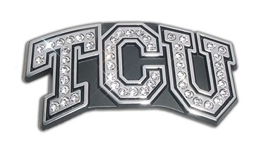 Texas Christian TCU NCAA Premium Metal Auto Emblem with Austrian Crystals