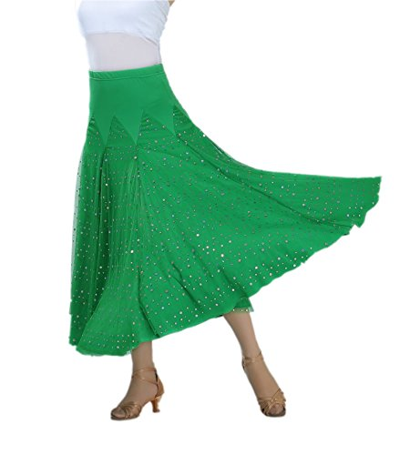 CISMARK Ballroom Dancing Waltz Dance Salsa Tango Swing Skirt for Women Green, One Size ()