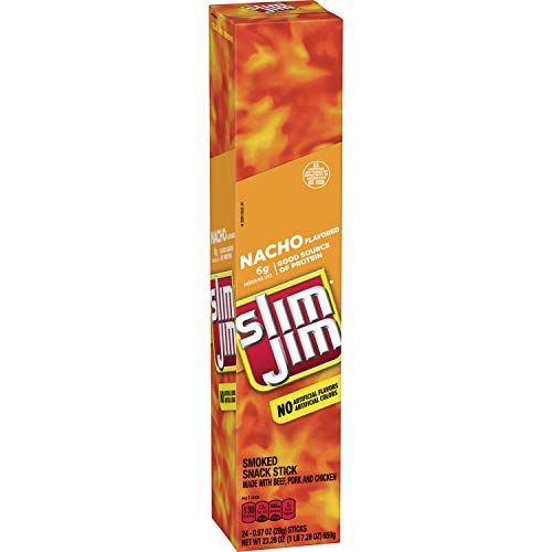 Slim Jim Giant Smoked Meat Stick, Nacho Flavor, .97 Oz. 24-Count