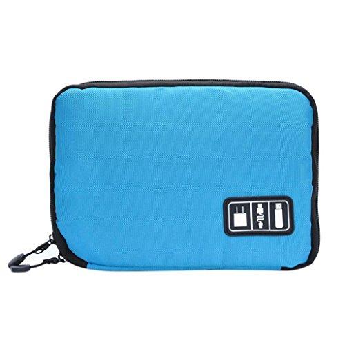(Organizer Bag, Iusun Protable USB Flash Drives Case Bag Digital Storage Pouch Data Earphone Cable (Blue))