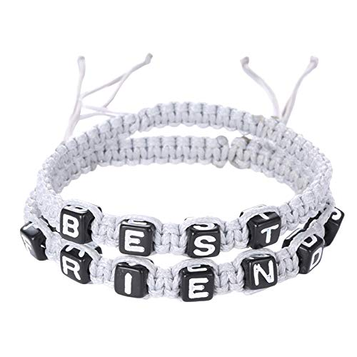 (blackbirdlee Woven Rope Bracelet, Unisex Best Friend Letter Charm Handmade Woven Friendship Bracelet 2Pcs/Set, Best Friend Sister Brother Coworkers Colleague Classmate Gift White)