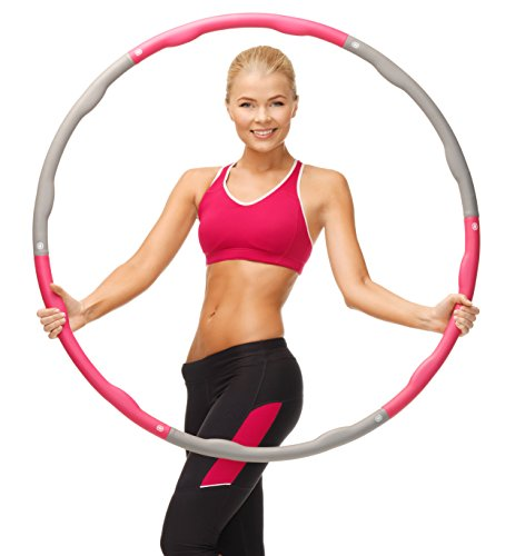 Fat Burning Weighted Hula Hoop | Fitness Hoop | Exercise Hoop | Support Weight Loss and Diet Plan Workouts | 8-Piece Set Adjustable | Easy to Assemble | 2 FREE Sweatbands Included
