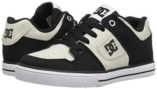DC Men's Pure TX SE Skate Shoe, Black/White/Black, 2 M US Little Kid