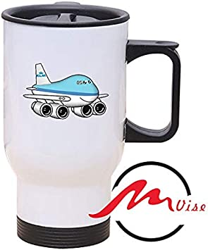 ZMvise Cute Aeroplane Stainless Steel Travel Car Thermoses with Handle and Lid Print Coffee Mug Tea Drink Cup Water Mugs 14oz