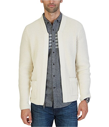 Nautica Men's Zip Front Shawl Collar Cardigan, Bone White, (Mens Zip Front Cardigan)