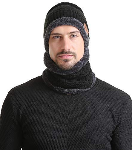 edbefa2ada8 2-Pieces Beanie Hat Scarf Set Women Winter Warm Knit Hat Thick Infinity  Scarf Skull