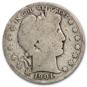 1901 S Barber Half Dollar AG Half Dollar About Good