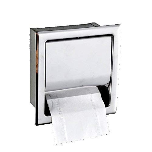 HapHomeSPus Stainless Steel Recessed Toilet Paper Holder Concealed Tissue Dispenser Roll Paper Box For Commercial Hotel, Bathroom, Cloakroom,Polished Chrome,Wall Mounted,Waterproof Home Office Lavator by HapHomeSPus