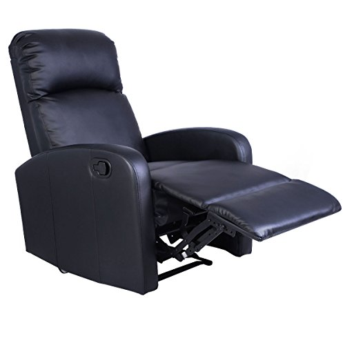 Giantex Manual Recliner Chair Black Lounger Leather Sofa Seat Home Theater Leather Home Massage Chairs