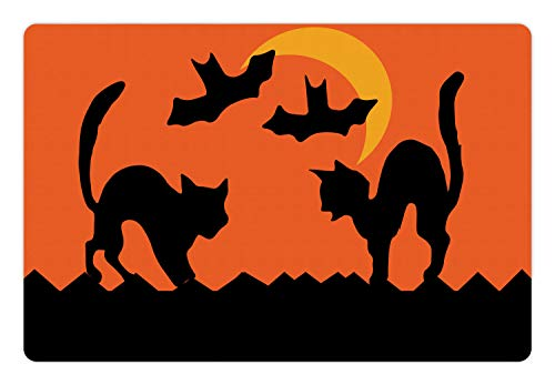 Ambesonne Halloween Pet Mat for Food and Water, Crescent Cats and Bats Silhouette Mystic Concept, Rectangle Non-Slip Rubber Mat for Dogs and Cats, Earth Yellow Burnt Orange and Charcoal Grey]()