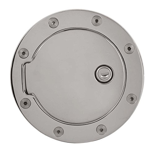 Pilot Automotive Gas Door Lock, Billet Aluminum Chrome Gas Cap Door Cover with Lock for Gmc Chevy (Chevy Pilot Chrome)
