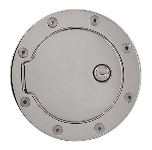 Door Billet Lock Aluminum - Pilot Automotive Gas Door Lock, Billet Aluminum Chrome Gas Cap Door Cover with Lock for Gmc Chevy