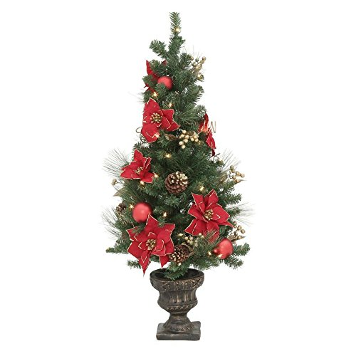 Potted Poinsettia (Home Accents Holiday 4 ft. Poinsettia Potted Artificial Christmas Tree with 50 Clear Lights)