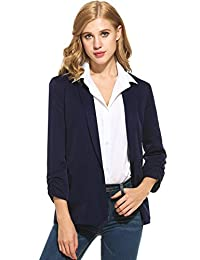 ANGVNS Women's Casual Shawl Collar Fitted Open Front Ruched Sleeve Blazer Jacket