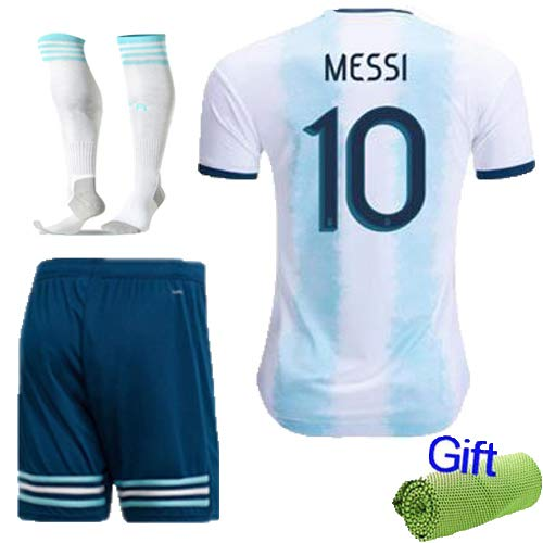 FC FirstClass 2019 Season Football Soccer America's Cup Kids Light Blue Home Kit Short Sleeve Shirt & Shorts & Socks Sports Suit with Free Ice Face Cloth (9-10 Years, Messi 10)]()