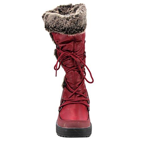 Brezza Naturale Frost-01 Womens Stitching Lace Up Stivali Da Neve A Metà Polpaccio Vino