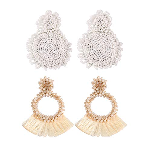(Statement Drop Earrings for Women White Handmade Bohemian Tassel Bead Round Earrings Gift Idea for Mom Mother Day Kid Girlfriends Sister 2 Pairs with Gift Box LBE2-3 White)