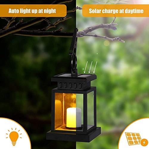 Solarlaterne für Außen Gartendeko, IP55 Wasserdicht Solar Laterne Aussen mit LED Kerzen Flacker-Effekt, Solar Gartenlaternen Outdoor Hängende Laternen Festive Beleuchtung für Draußen Garten (1 Stück)