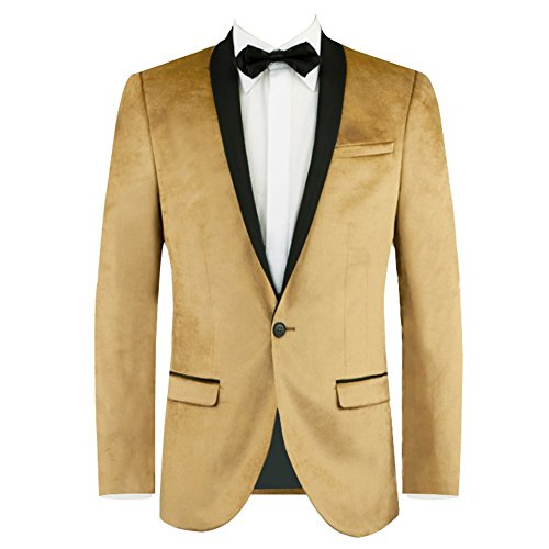 GEORGE BRIDE Men's One-Button Tuxedo Casual Dress Suit Slim Fit Stylish Blazer 1 Piece,L,Gold -
