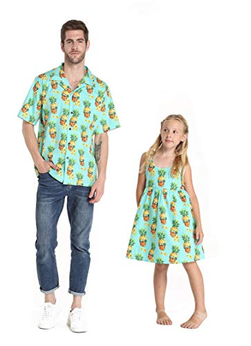 Father-daughter Matching Halloween Costumes (Matching Father Daughter Hawaiian Dance Shirt Dress Halloween Pineapple Skull Men XL Girl)