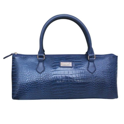 Sachi Insulated Wine Purse Cooler Tote Bag - Crocodile Navy