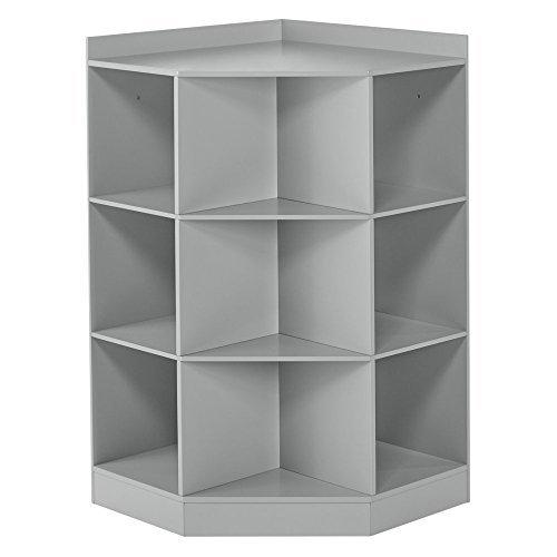 Kids 6-Cubby, 3-Shelf Corner Cabinet - Gray