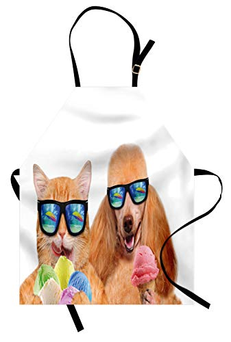 Ambesonne Animal Apron, Cat Dog Pet with Sunglasses Eating Ice Cream Retro Cool Vintage Pop Artwork Image, Unisex Kitchen Bib Apron with Adjustable Neck for Cooking Baking Gardening, Pale Brown (Dog Ice Eating Cream)