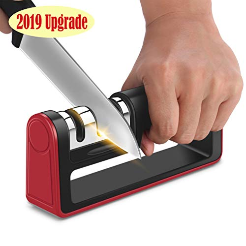 Kitchen Knife Sharpener - 3-Stage Wheel System Knife Sharpening Tool to Repair and Polish Blades - Sharpens Dull Knives Quickly, Easily, Safely (black)