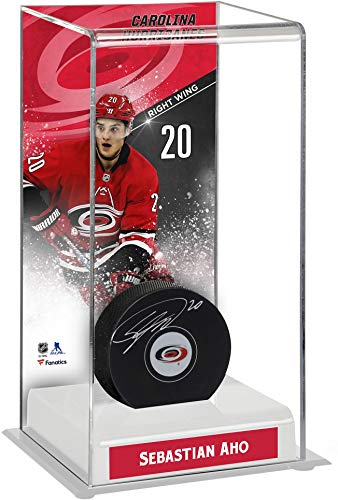 Sebastian Aho Carolina Hurricanes Autographed Puck with Deluxe Tall Hockey Puck Case - Fanatics Authentic Certified