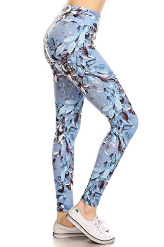 LYR-R853 Blue and White Iris Printed Yoga Leggings, One Size