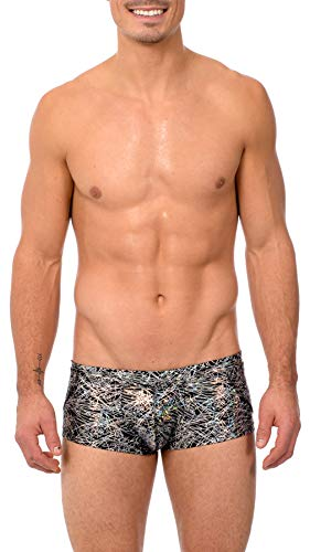 Gary Majdell Sport Mens Print Hot Body Boxer Swimsuit (Large, Silver Flicker) ()