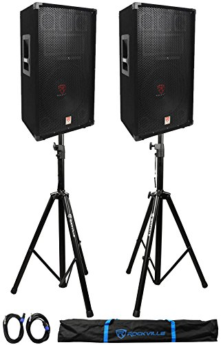 (2) Rockville RSG12 12 3Way 1000 Watt 8Ohm Passive DJ PA Speaker +Stands +Cables