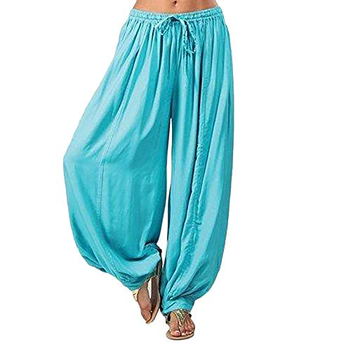 F_topbu Women's Casual Harem Pants Cotton Linen Baggy Pants with Elastic Waist Pleated Capri Trousers with Pockets Blue