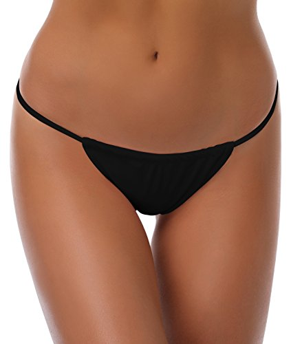 SHEKINI Women's Swimsuit Bottoms Low Rise Cheeky String Thong Bikini Bottoms (Medium/(US 8-10), Manhattan Black)