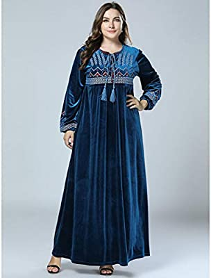 ASGHILL Vestido Moda de Terciopelo Bordado Costura Falda Larga ...