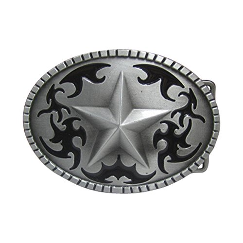E-Clover Designer Silver Star Engraved Western Belt Buckle Mens Oval Buckles (Style01) - Mens Oval Belt Buckle