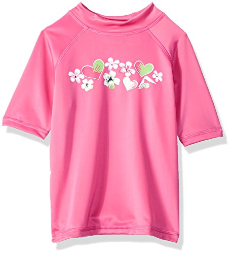 Kanu Surf Toddler Girls' Alania UPF 50+ Sun Protective Rashguard Swim Shirt, Pink, 5T