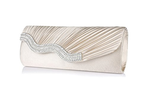 Women Satin Pleated Rhinestone Frosted Envelope Clutch Wedding Party Prom Evening Handbag Crystal Diamantes Purse By Bekilole (Collection Pleated Shoulder Bag)