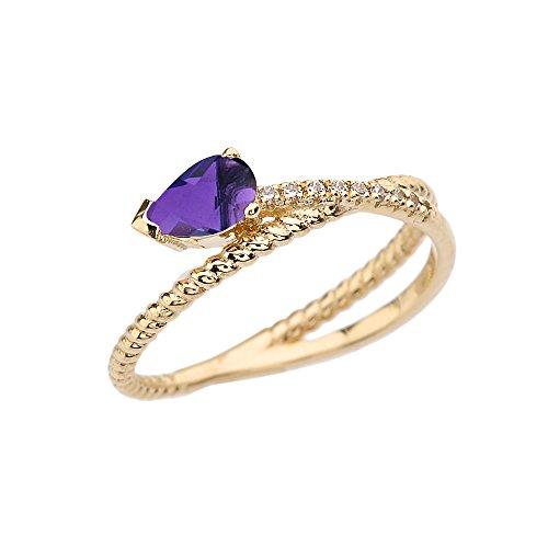 Yellow Gold Diamond Rope Ring - 4