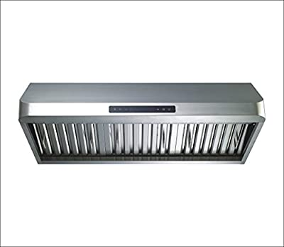 "Winflo New 30"" Convertible Stainless Steel 600 CFM Air Flow Under Cabinet Range Hood with Baffle filters and Touch Control"