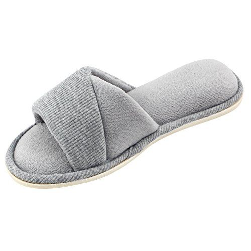 Slippers Velvet Lining Memory Gray Foam Comfy Toe Women's Open Indoor House Summer Spring Shoes Terrycloth HomeIdeas Slide with 4qYznz