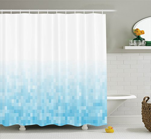 white and light blue curtains - 5
