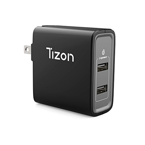 24W 2-port USB Travel Wall Charger w/I+power smart chip& foldable plug, Tizon Voyage for iPhone X, 8/8Plus, 7/7Plus, iPad Pro/Air 2, iPad mini 3,Samsung S8/S7/Edge/Plus&more (Black) by Tizon
