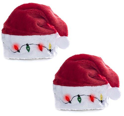 2 Blinking Santa Costume Hats - Funny Party (Light Up Santa Hat)