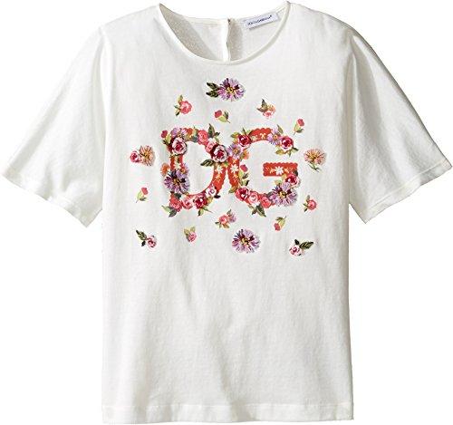 Dolce & Gabbana Kids Girl's Mambo Logo T-Shirt (Big Kids) Carretto Print T-Shirt by Dolce & Gabbana