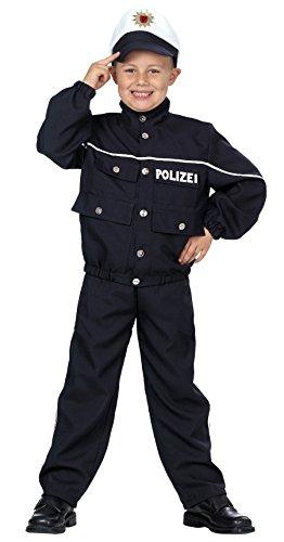 Polizist in dunkelblau für Jungen   Größe 116   3-teiliges Polizei Kostüm mit Mütze   Gesetzeshüter Faschingskostüm für Kinder   Schutzmann für Karneval