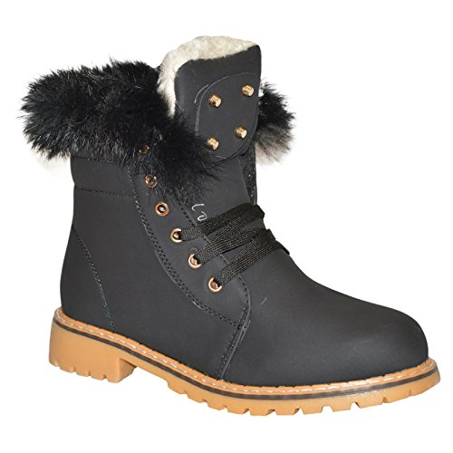 Xelay Womens Fur Lined Winter Warm Ankle Trainer Boots Shoes Size UK 3-8 Black Studded GFi8Q201