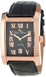 Lucien Piccard Men's 98042-RG-01 Classico Black Dial Black Leather Watch
